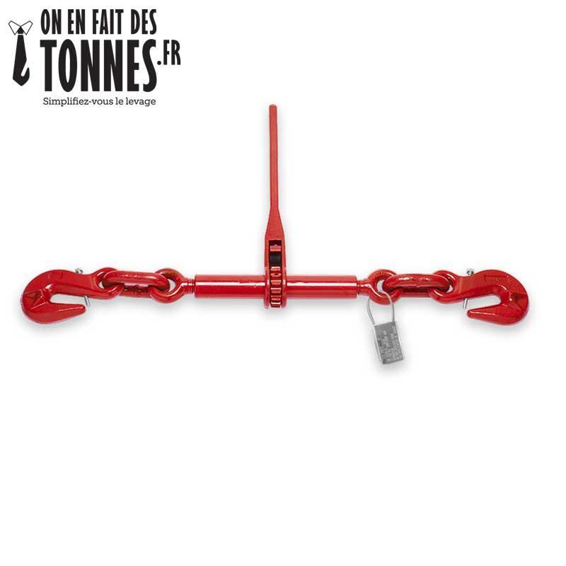 Tendeur à cliquet 2 crochets pour chaîne - Ø chaine 6 mm à 16 mm, tension max 16.000 dkN, crochets de réglage