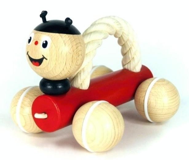 Dřevěná hračka - Beruška na kolečkách - Zvířátka s úchopovým lanem, dřevěné hračky pro děti od jednoho roku