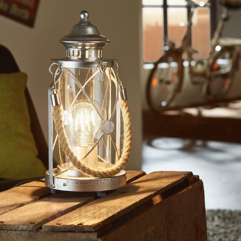 Lampe-lanterne à poser claire argent antique - Lampes à poser pour rebord de fenêtre