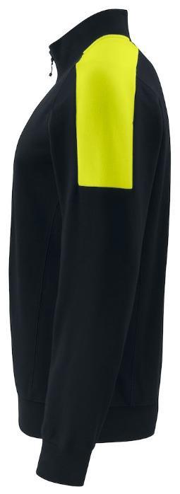 Felpa unisex blu da lavoro con profilo giallo fluo - Felpa blu da lavoro unisex, con profilo giallo fluo sulle spalle