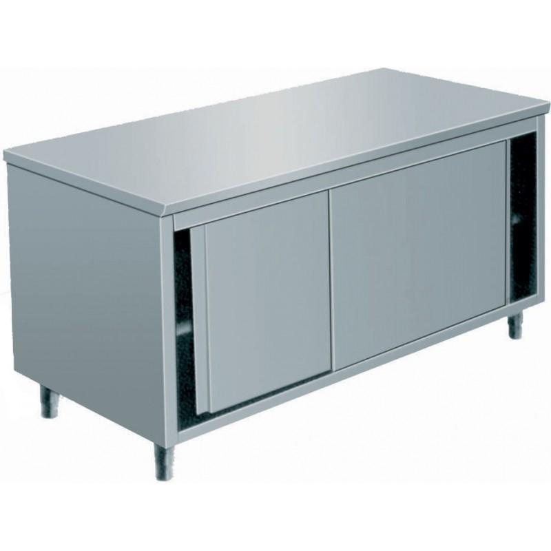 TABLE ARMOIRE INOX, PORTES COULISSANTES, L 1200 MM - Référence JTA127