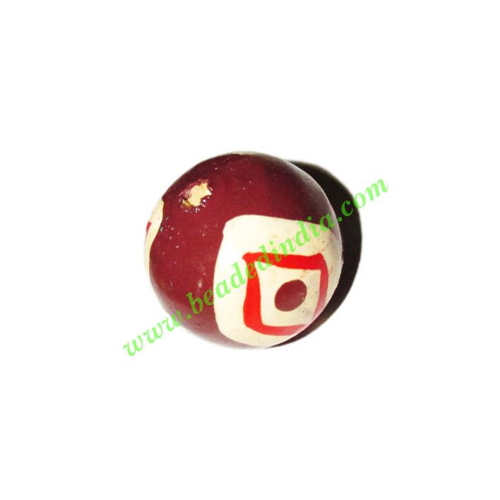 Wooden Painted Beads, Fancy Design Hand-painted beads, size  - Wooden Painted Beads, Fancy Design Hand-painted beads, size 18mm, weight approx