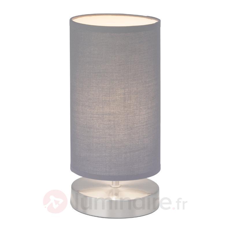 Lampe à poser Clarie avec abat-jour tissu gris - Lampes à poser en tissu