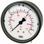 Glycerine pressure gauge, rear centric, G 1/4, -1 / +9... - Glycerine-filled pressure gauge, connection on rear, centrical