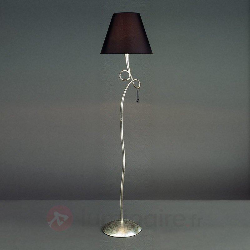 Joli lampadaire Paola noir et argenté - Lampadaires en tissu