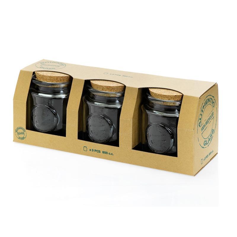 Set 3 pièces 800 ml Authentic 3 Pots dans leur emballage - Pots et bocaux Ronds