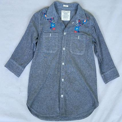 Women's denim shirt  Half-sleeve denim shirt -