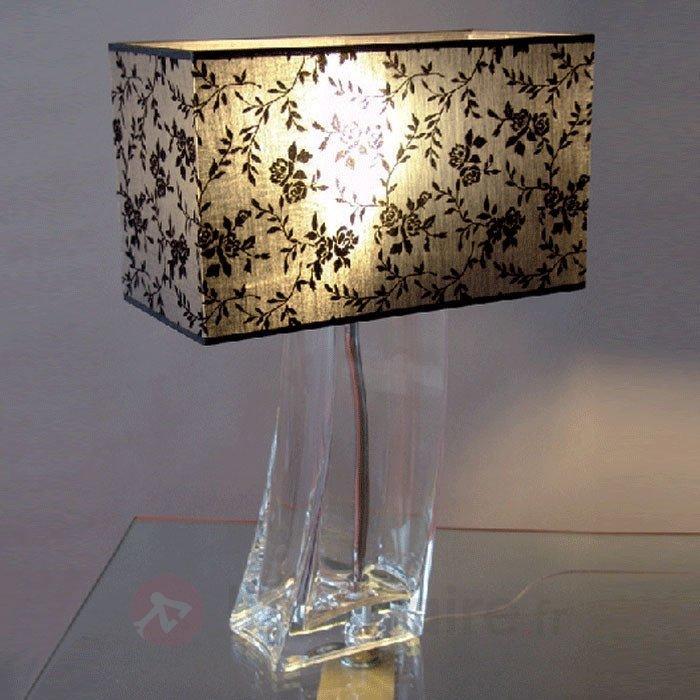 Charmante lampe à poser ANNA pied transparent - Lampes à poser en tissu