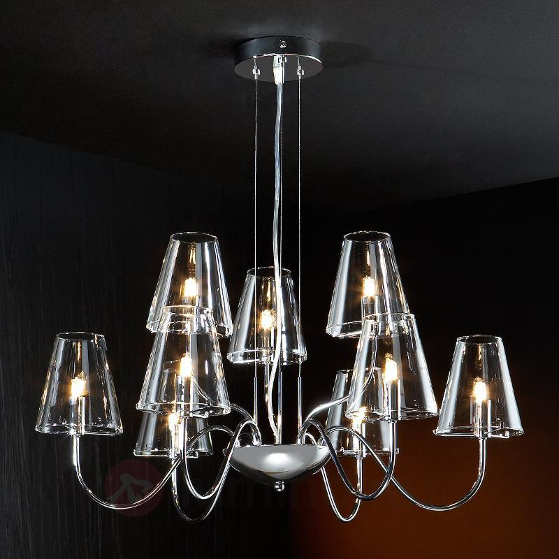 Lustre Silva à 9 lampes avec abat-jour en verre - Lustres à abat-jour