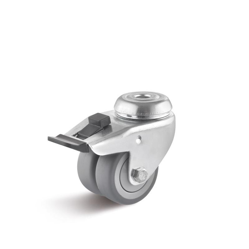 Thermoplastic apparatus double castors up to 100 kg - TPBK wheel series in AD housing, pressed steel sheet, galvanized
