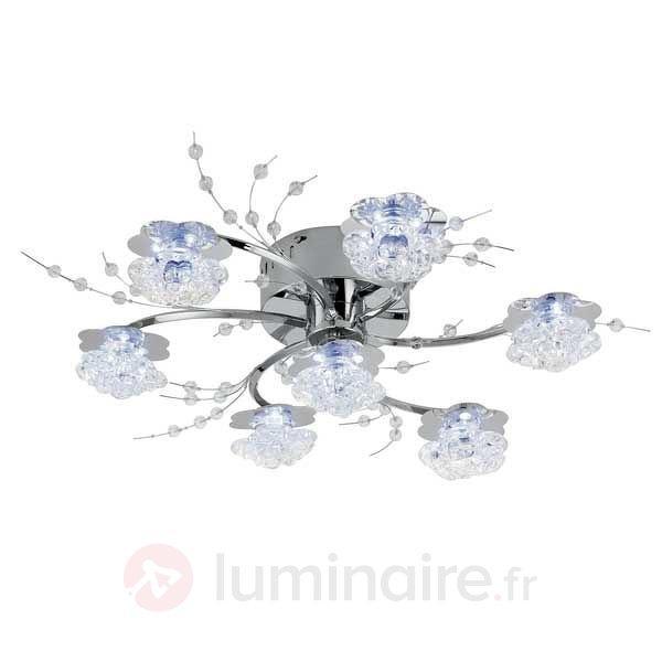 Luminaire LED en verre à 7 lampes ac télécommande - Plafonniers chromés/nickel/inox