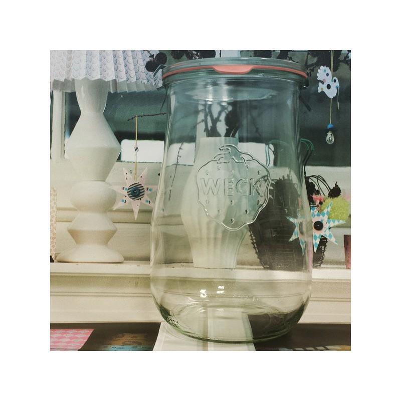 WECK COROLLE® Glazen - 4 flessen WECK Corolle® 1750 ml met deksels in glas en verbindingsstukken (niet