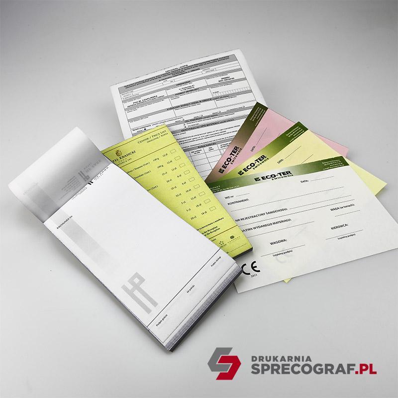 Druki i bloczki samokopiujące - składanka komputerowa, formularze, druki medyczne