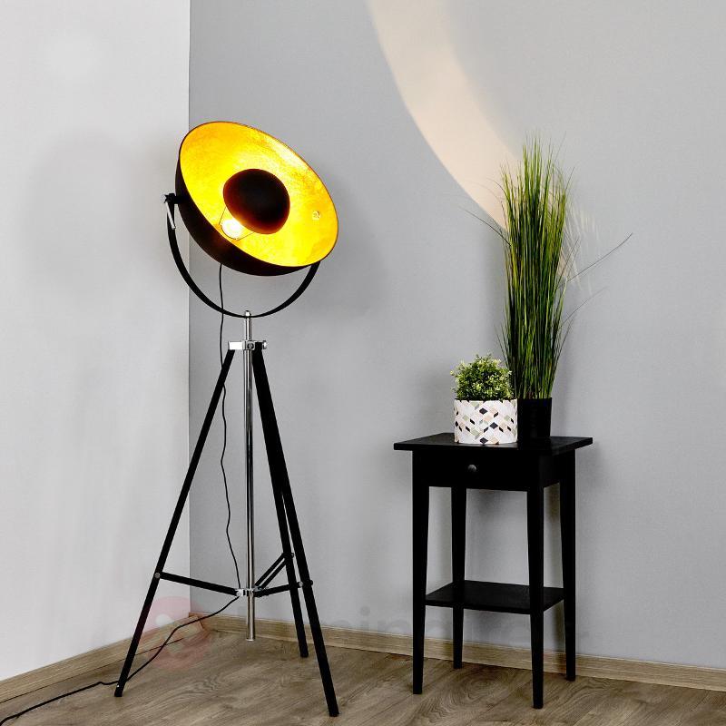 Extravagant lampadaire Mineva noir et doré - Lampadaires à éclairage indirect