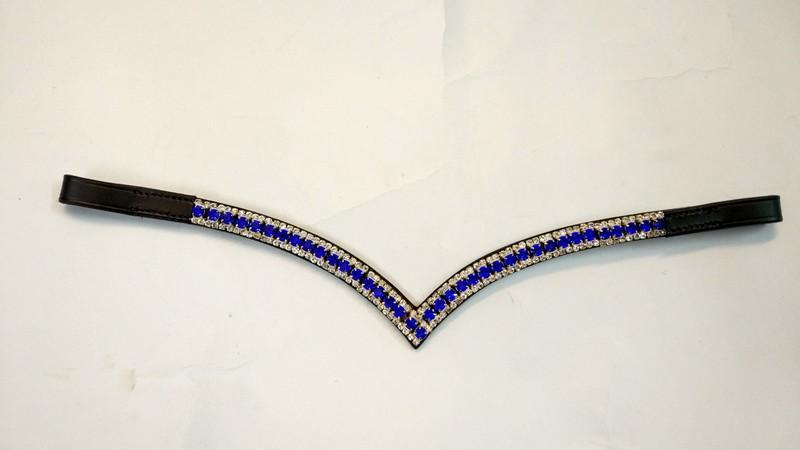V Shape 3 Row Crystal Browband  -