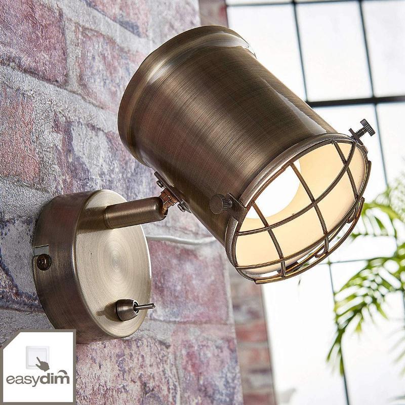 Dimmable LED wall spotlight Ebbi in antique brass - Spotlights