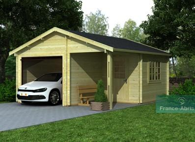 Garage bois - 1 véhicule + réserve