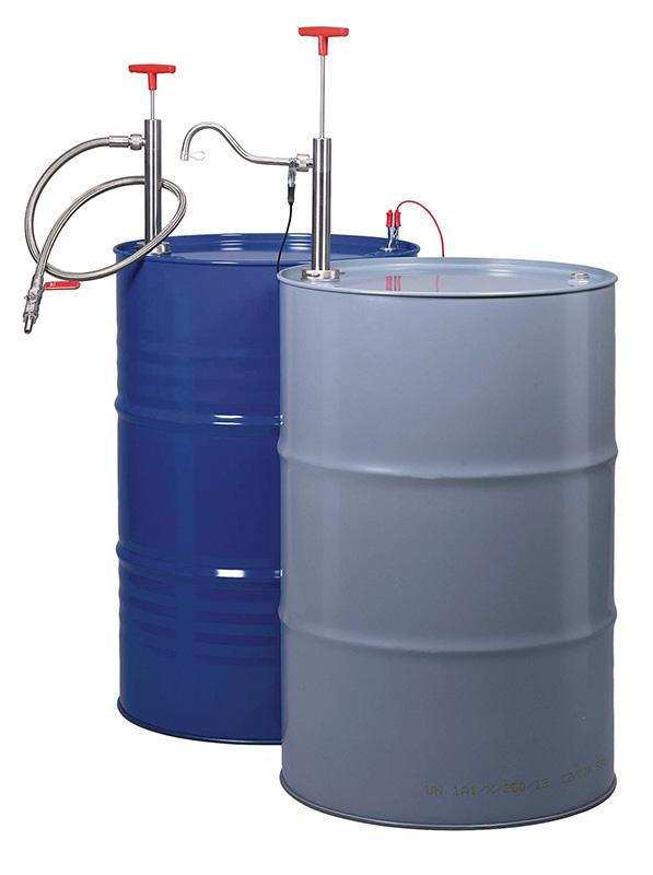 Fasspumpe Edelstahl - Auslaufbogen - Handpumpe zum Befüllen von brennbaren und leicht entzündlichen Flüssigkeiten