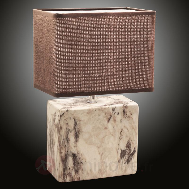 Lampe à poser marbrée avec pied en céramique - Lampes à poser en tissu