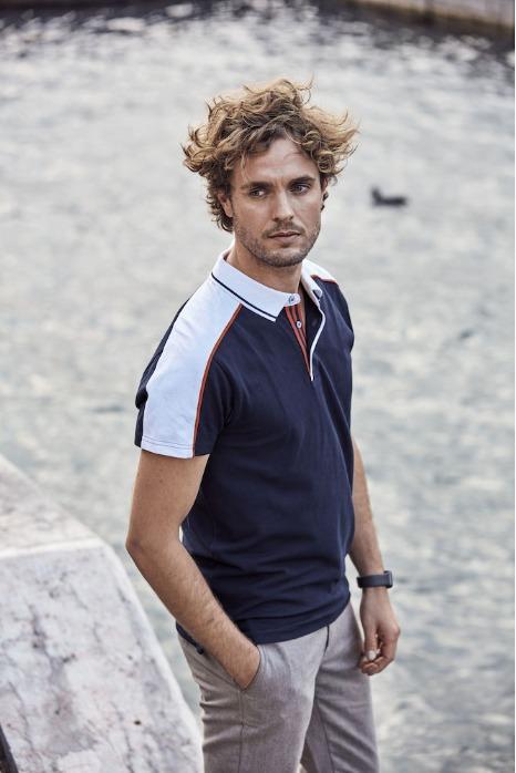 Polo manica corta di qualita' bicolore per uomo. - Polo manica corta di qualita' bicolore per uomo.