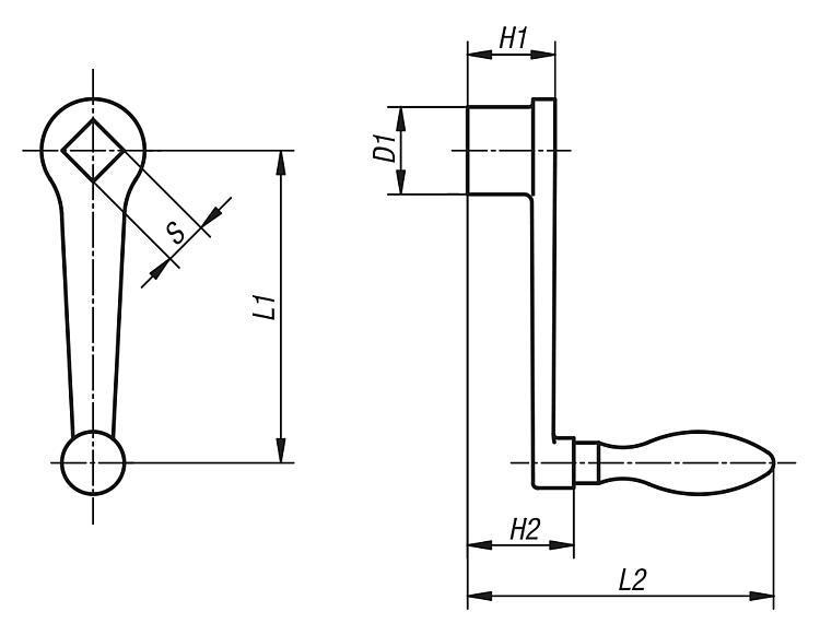 Manivelle droite similaire à DIN 469 - Volants, manivelles et poignées