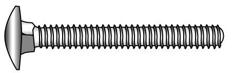 Mushroom head square neck bolts, full thread - Material A2   A4