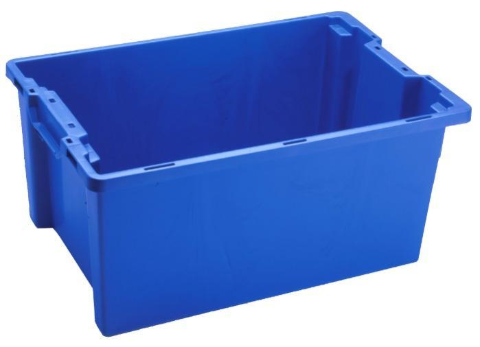 Cajas de plástico apilables y encajables - sin abertura en las asas, 50L (cerrada y/o rejada)