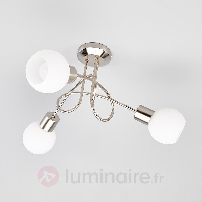 Plafonnier LED Elaina à 3 lampes, nickel mat - Plafonniers LED