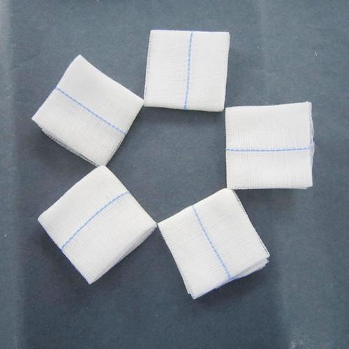 5 * 5cm ligne bleue gaze pièce - Gaze écrémé médical 100% coton, après décoloration, séchage haute température. A