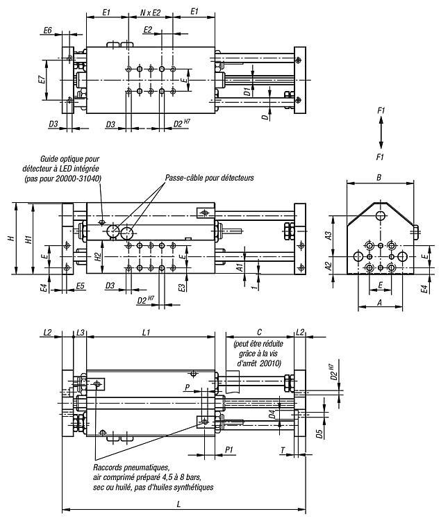 Module linéaire pneumatique avec trois guidages cylindriques - Modules linéaires et portiques pneumatiques