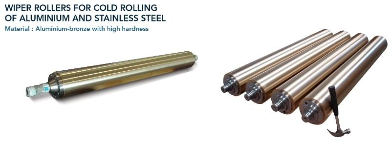 Wiper roller  - Rolling mills - cold rolling of aluminium and stainless steel