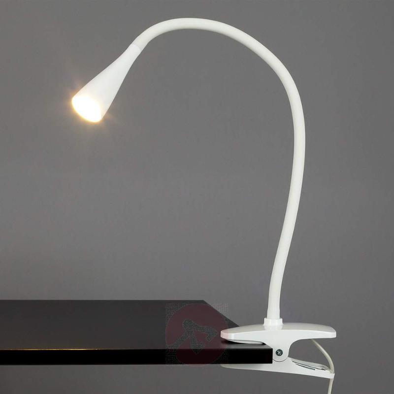 Baris, Narrow LED Clip-on Lamp in White - Clamp Lights