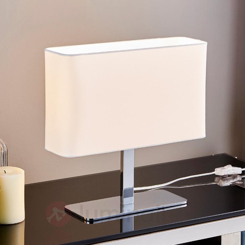 Lampe à poser textile rectangulaire blanche Nisa - Lampes à poser en tissu
