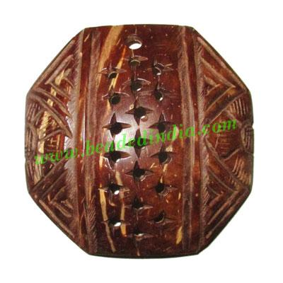 Handmade coconut shell wood pendants, size : 51x3mm - Handmade coconut shell wood pendants, size : 51x3mm