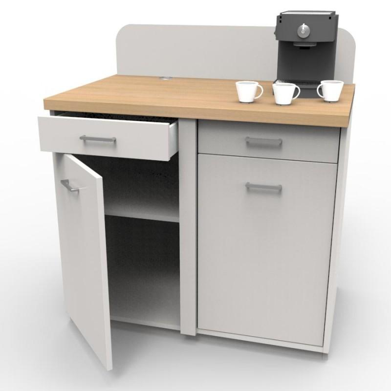 MEUBLE CAFE LUNGO - Meuble de service Lungo Blanc avec plan de travail stratifié Chêne