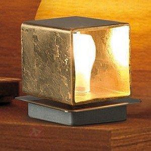 Lampe à poser Cube dorée à la feuille - Lampes de chevet