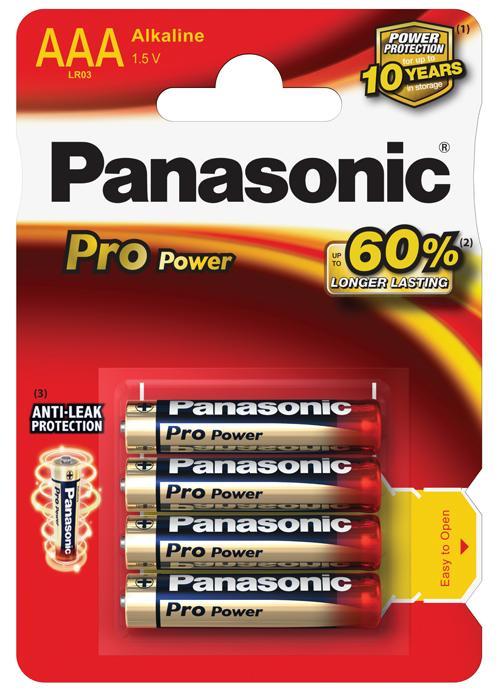 Batterie ministilo Alcaline Pro Power 4 pz - LR03PPG/4BP | Blister da 4 pile AAA Panasonic