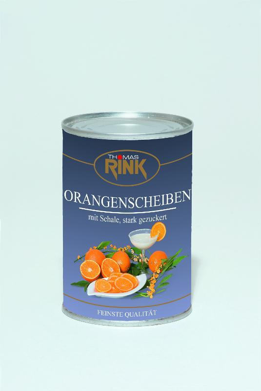 Orangen-Scheiben, mit Schale, 425 ml, gezuckert - null