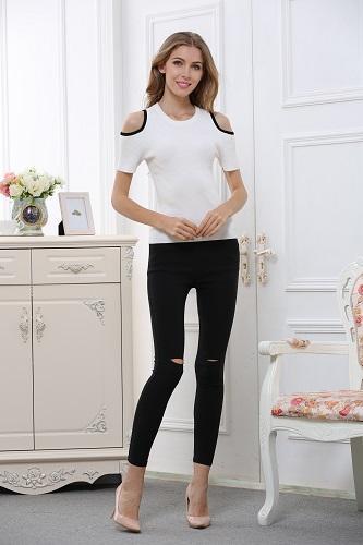 short sleeve off-shoulder women's shirt W1606