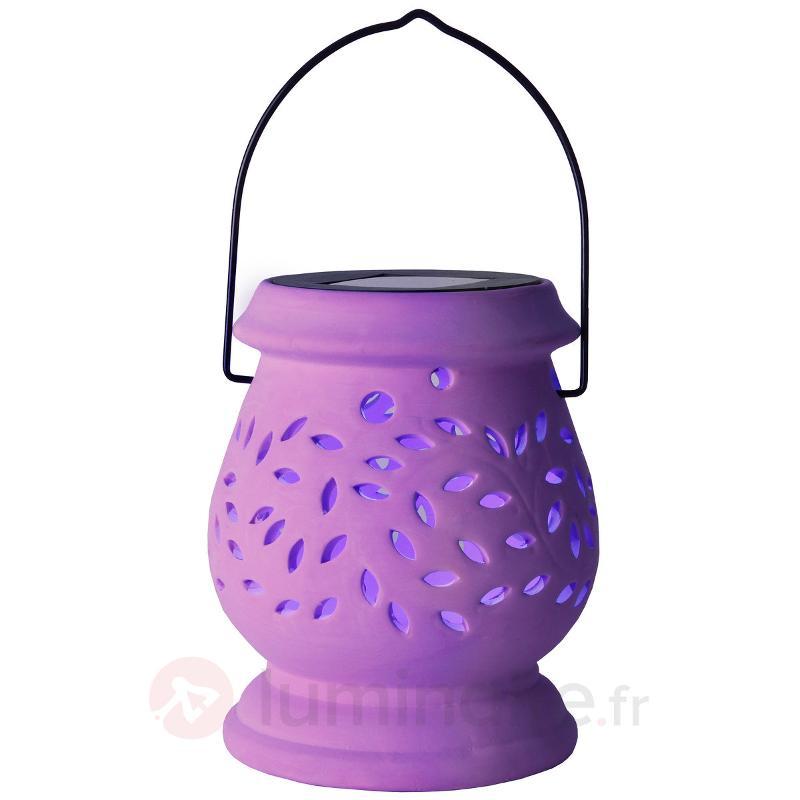 Photophore LED solaire couleur lila Clay Lantern - Lampes solaires décoratives