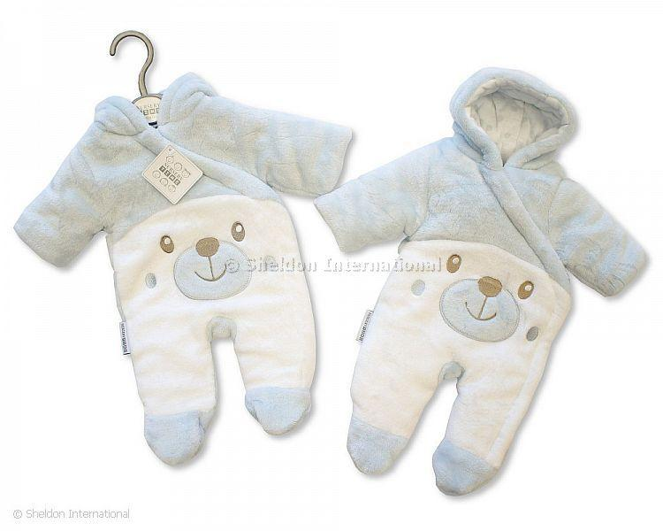 Tiny Baby Padded Snowsuit - Teddy - Sky - Premature Sets - Autumn/Winter
