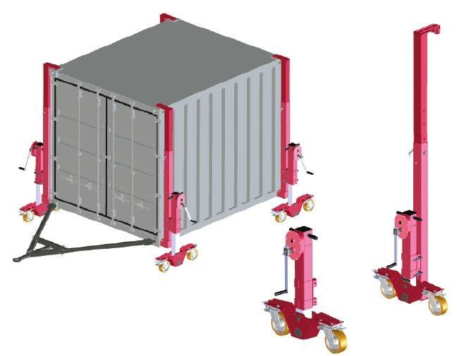 Containerrollen mit Lasthub 6t - Containerrollen mit Lasthub zum Anheben und Bewegen von Norm-Containern
