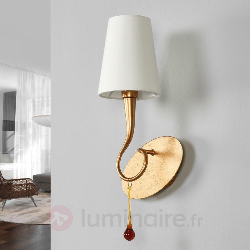 Applique à 1 lampe Paola de couleur or et crème - Appliques en tissu