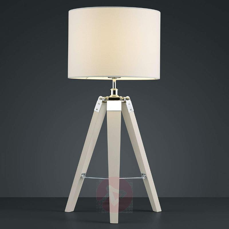 Gent - fabric lamp with three-legged wooden frame - Table Lamps