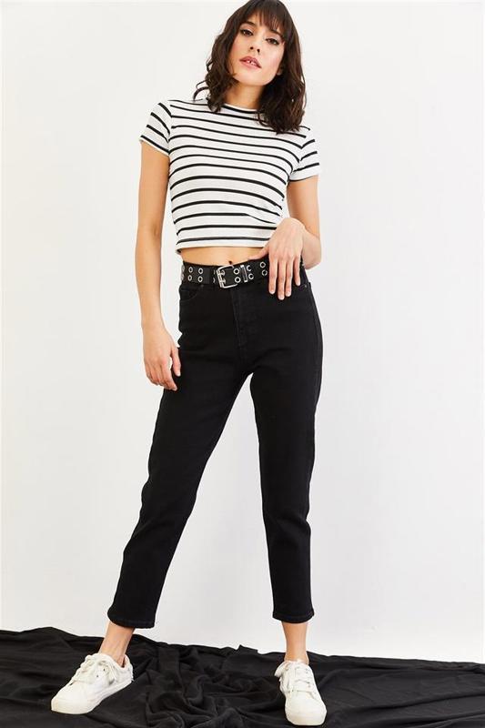 Mom Black Women's High Waist Jeans - Women's Jeans (Jean)