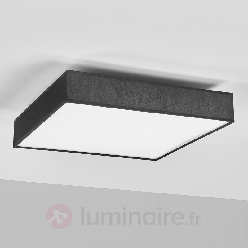 Plafonnier en textile noir, rectangulaire LED - Plafonniers en tissu