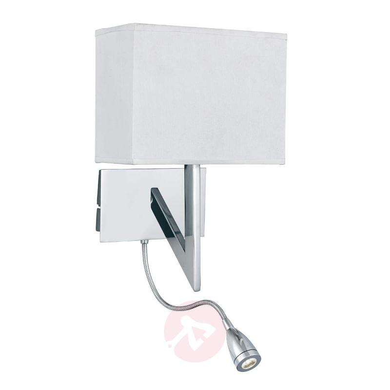 VEY wall light with LED reading light, chrome - Wall Lights