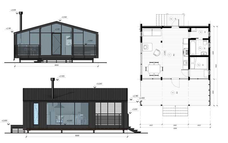 Модульный дом DUBLHAUS  43 - Серийный всесезонный дом 43 м2, рассчитанный на перевозку в готовом виде.