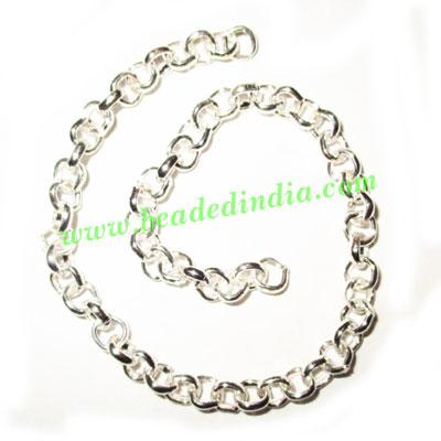 Silver Plated Metal Chain, size: 1x4mm, approx 46.4 meters i - Silver Plated Metal Chain, size: 1x4mm, approx 46.4 meters in a Kg.