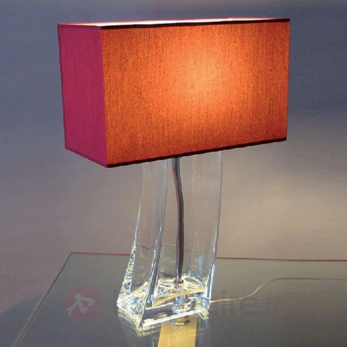 Lampe à poser rouge MELANIE pied transparent - Lampes à poser en tissu